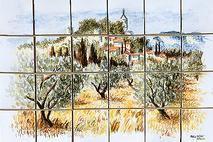 panneau décoratif les oliviers sur carreaux de terre cuite