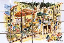 panneau décoratif le marché sur carreaux de terre cuite