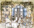 panneau décoratif la place sur carreaux de terre cuite