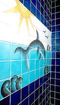 décor mural sur carreau 13x13cm  motif dauphin