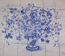 Panneau décoratif - bouquet Moustier - Carreaux de terre cuite