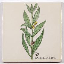 Carreau décoré motif laurier peint à la main - Salernes