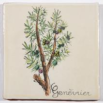 Carreau décoré motif genevrier peint à la main - Salernes