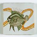 Carreau décoré motif poisson vert peint à la main - Salernes