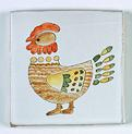 carreau décoré motif poule peint à la main - Salernes